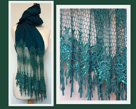 Pashmina Cashmere & Silk  Shawl with deep lace - Teal