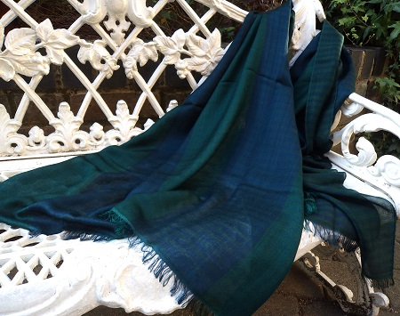 Pashmina Cashmere & Silk Lightweight Large Scarf : Peacock Zanzibar