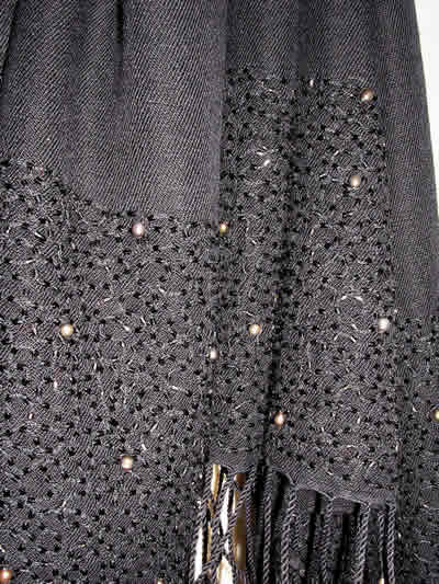Pashmina Cashmere & Silk  Shawl with freshwater pearls - Style A06