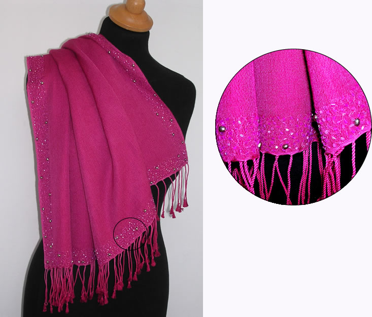 Pashmina Cashmere & Silk  Shawl Style A06B - fresh water pearls