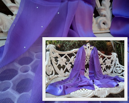 100% Silk Chiffon Shawl with Silk Border - Violet Stardust