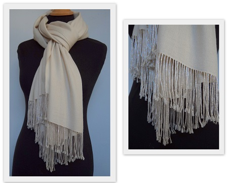 Pashmina Cashmere & Silk Shawl with Beaded Tassels - Cream