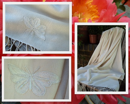 Pashmina Cashmere & Silk  Shawl Style: Butterfly