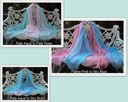 100% Silk Chiffon Shawl - Shaded