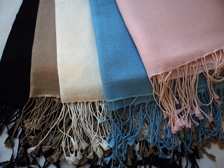 Pashmina Cashmere & Silk Large Shawl -  Plain