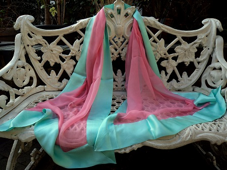 100% Silk Chiffon Shawl with Silk Border - Flame Pink/Aqua