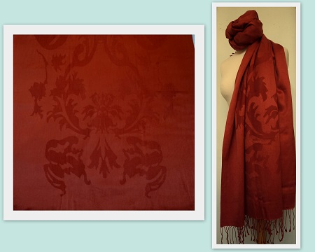 Pashmina Cashmere & Silk Large Shawl - Heraldry Jacquard weave
