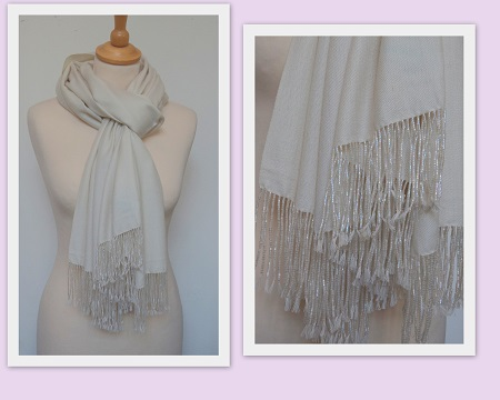 Pashmina Cashmere & Silk Shawl with Beaded Tassels - Ivory