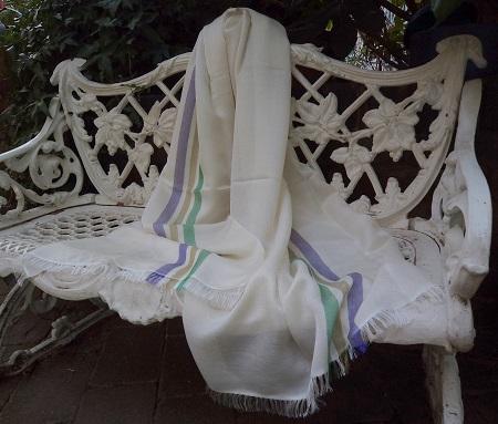 Pashmina Cashmere & Silk Centre Stripe Shawl - Lightweight weave