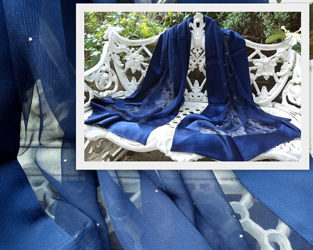 100% Silk Chiffon Shawl with Silk Border - Midnight Stardust