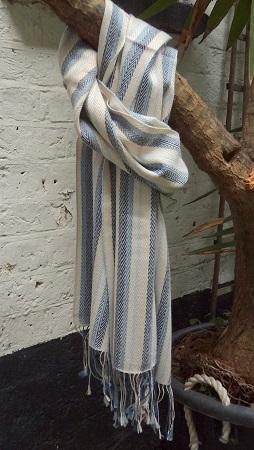 Pashmina Cashmere & Silk Herringbone Stripe Large Scarf