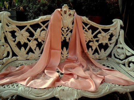 100% Silk Chiffon Shawl with Silk Border - Peachy Nude