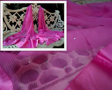 100% Silk Chiffon Shawl with Silk Border - Hot Pink Stardust