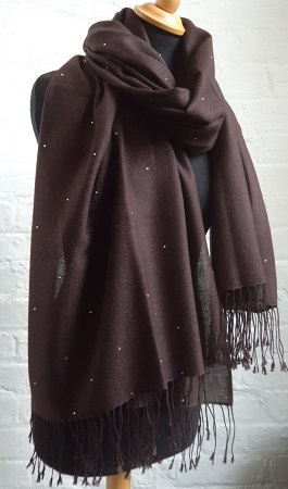 100% Pashmina Cashmere Large Ring Shawl with Swarovski Crystals