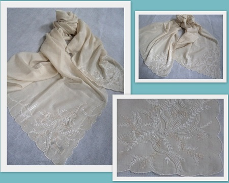 Pashmina Cashmere & Silk Embroidered 'Ribbon' Lightweight Shawl MV170