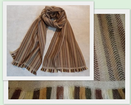 100% Pashmina Cashmere Herringbone Stripe Scarf - medium weight