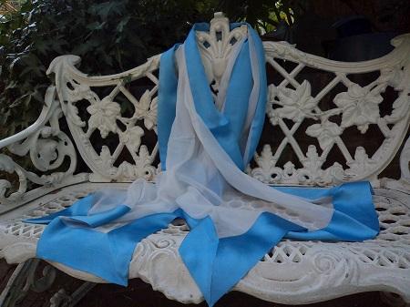 100% Silk Chiffon Shawl with Silk Border - Ivory/Bluebell