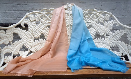 Pashmina Cashmere & Silk Shaded Lightweight shawl - Sand to Cerulean Blue