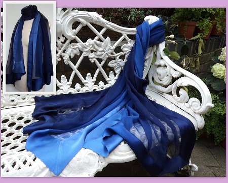 100% Silk Chiffon Shawl with Silk Border - Shaded Midnight Blue