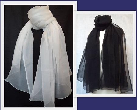 100% Silk Chiffon Large Shawl - Plain