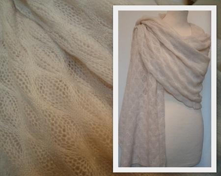 100% Pashmina Cashmere Knitted Shawl - Lace knit