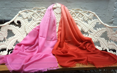 Pashmina Cashmere & Silk Shaded Lightweight Shawl - Kalahari Orange to Sunset Pink