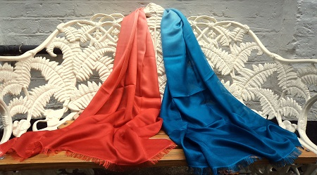 Pashmina Cashmere & Silk Shaded Lightweight Shawl - Teal to Kalahari Orange