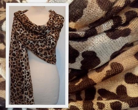 100% Pashmina Cashmere Fine Knit Leopard Print Shawl