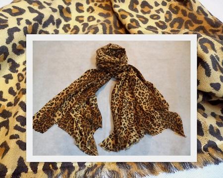 Pashmina Cashmere & Silk Large Scarf - Printed Classic Leopard