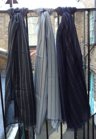 Pashmina Cashmere & Silk Stripe Lightweight Large Scarf