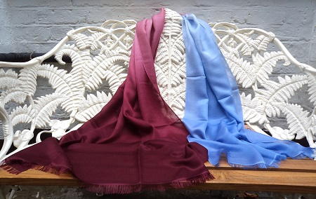 Pashmina Cashmere & Silk Shaded Lightweight Shawl - Oxblood Red to Smoke Lavender