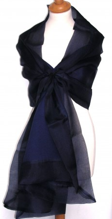 100% Silk Organza Evening Shawl with 100% Pashmina Cashmere back - 'Elegance'