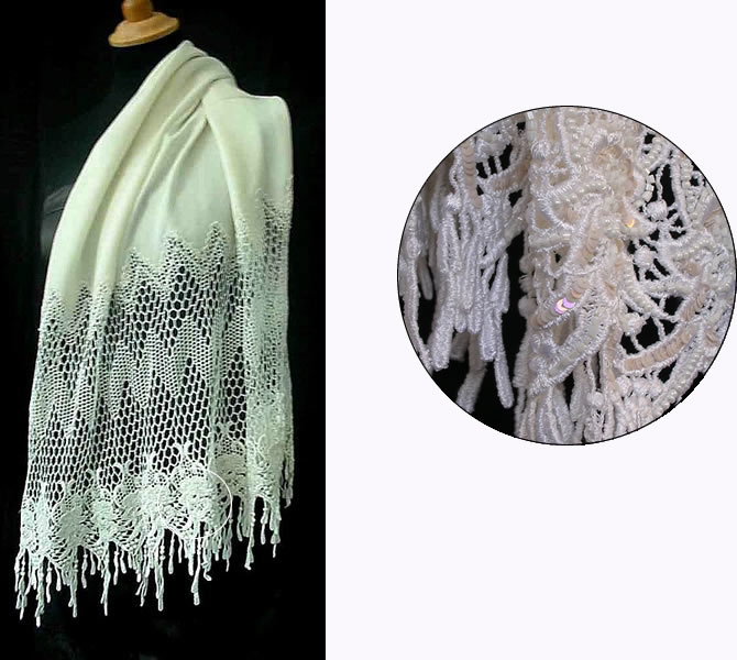 Pashmina Cashmere & Silk  Shawl with deep lace